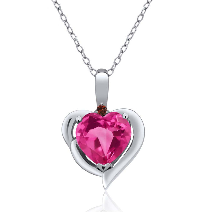 Gem Stone King 1.82 Ct Heart Shape Pink Created Sapphire Red Garnet 925 Sterling Silver Pendant