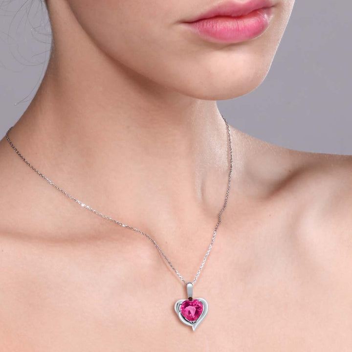 1.82 Ct Heart Shape Pink Created Sapphire Red Garnet 925 Sterling Silver Pendant