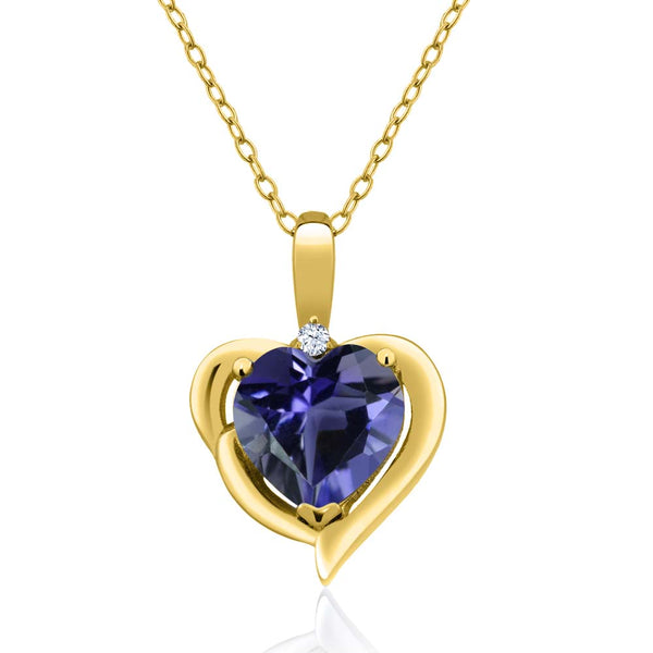 Gem Stone King 1.27 Ct Blue Iolite White Topaz 18K Yellow Gold Plated Silver Pendant