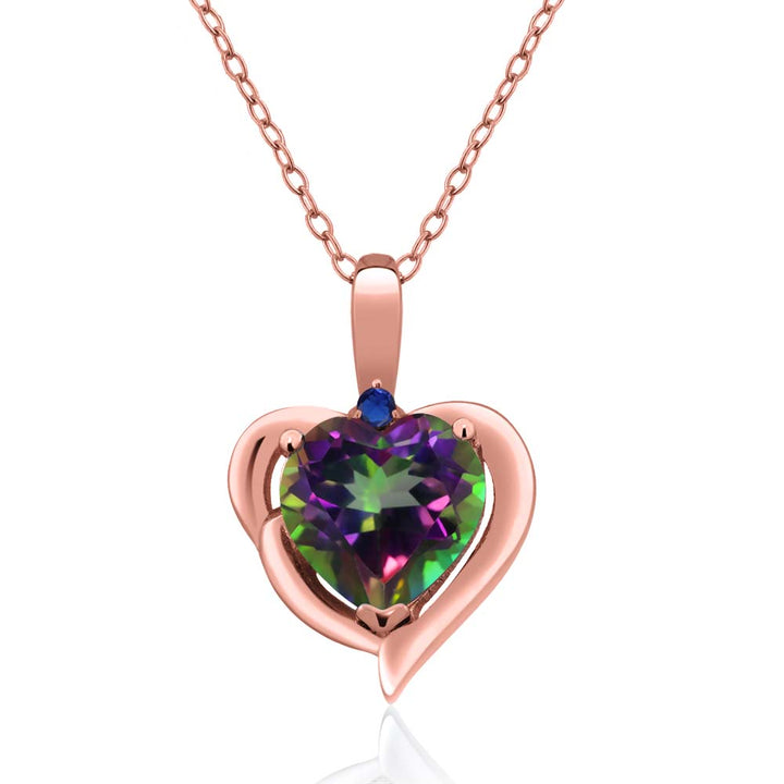 Gem Stone King 2.02 Ct Green Mystic Topaz Blue Simulated Sapphire 18K Rose Gold Plated Silver Pendant