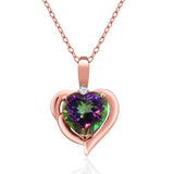 Gem Stone King 2.02 Ct Green Mystic Topaz 18K Rose Gold Plated Silver Pendant
