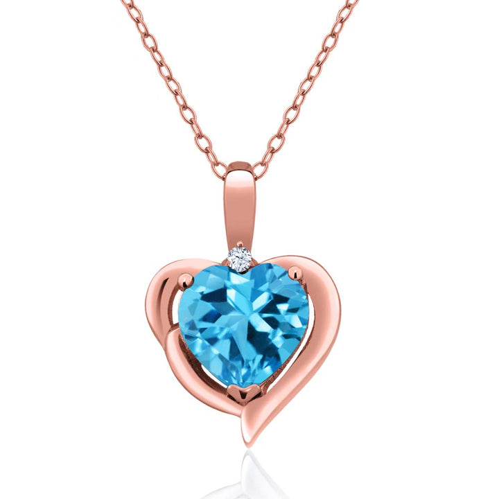 Gem Stone King 2.02 Ct Swiss Blue Topaz 18K Rose Gold Plated Silver Pendant