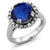 3.70 Ct Blue Simulated Sapphire White Created Sapphire 925 Sterling Silver Ring