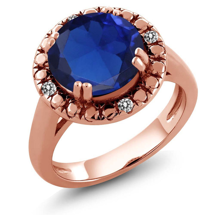 Gem Stone King 3.71 Ct Blue Simulated Sapphire White Diamond 18K Rose Gold Plated Silver Ring