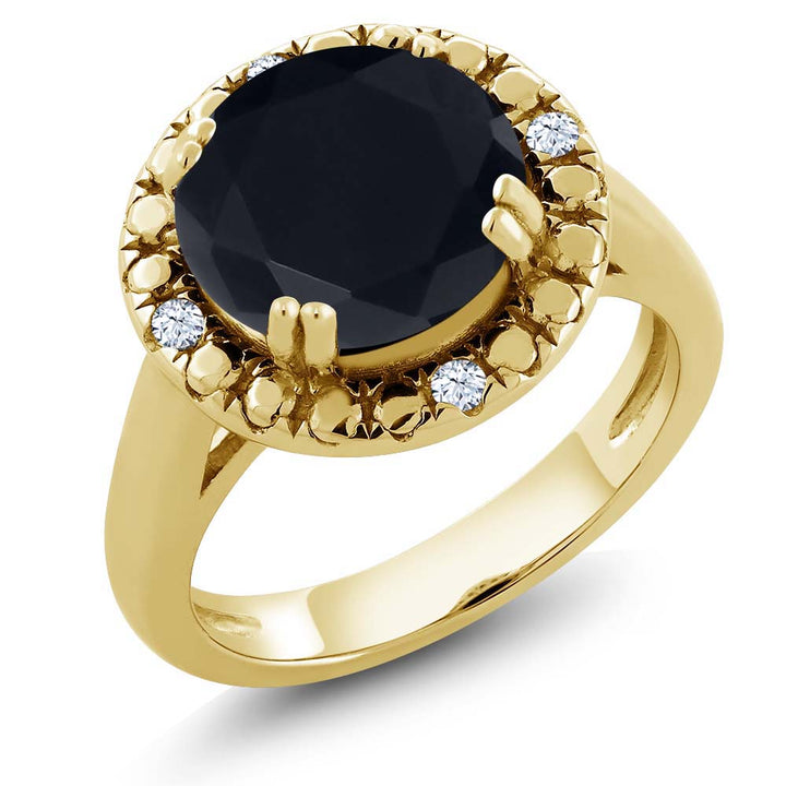 Gem Stone King 3.04 Ct Round Black Onyx 18K Yellow Gold Plated Silver Ring
