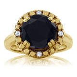 3.04 Ct Round Black Onyx 18K Yellow Gold Plated Silver Ring