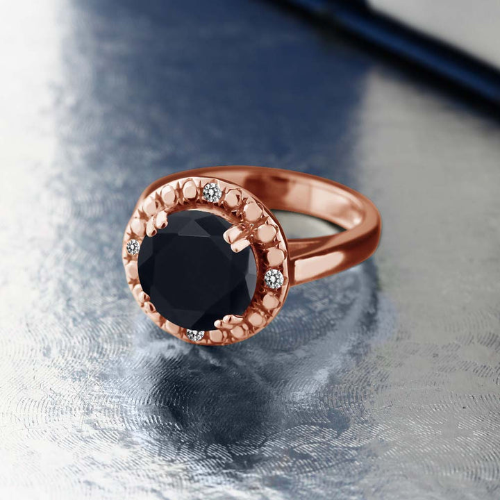 3.05 Ct Round Black Onyx White Diamond 18K Rose Gold Plated Silver Ring