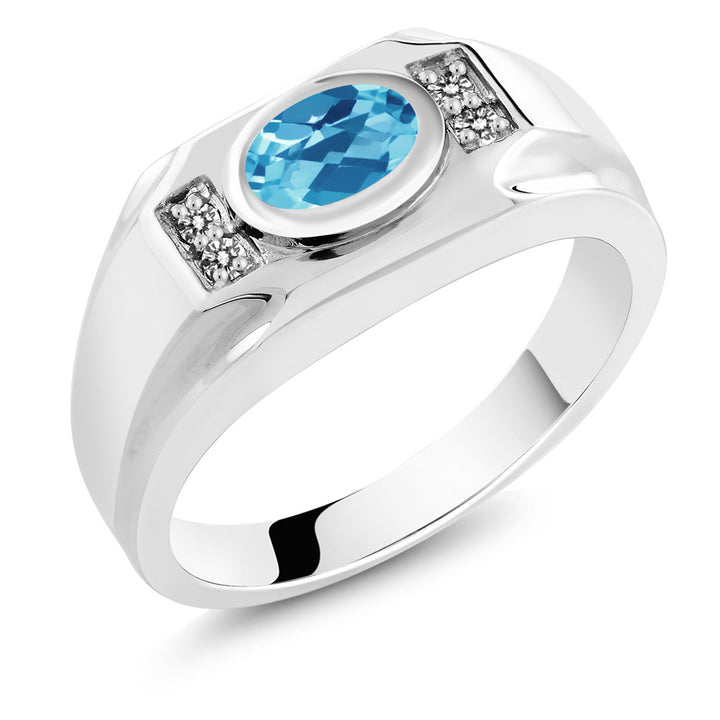 Gem Stone King 1.73 Ct Natural Oval Checkerboard Swiss Blue Topaz with White Diamond 925 Sterling Silver Men's Ring (Available 7,8,9,10,11,12,13)