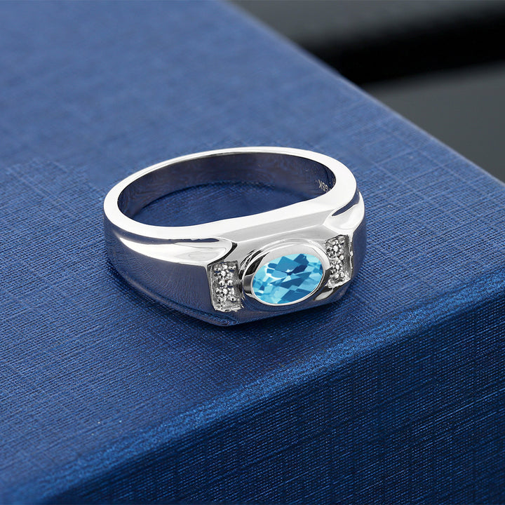1.73 Ct Oval Checkerboard Swiss Blue Topaz White Diamond 925 Silver Men's Ring