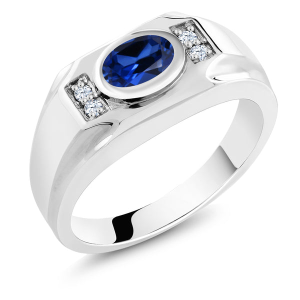 1.80 Ct Blue Simulated Sapphire White Created Sapphire 925 Silver Men's Ring
