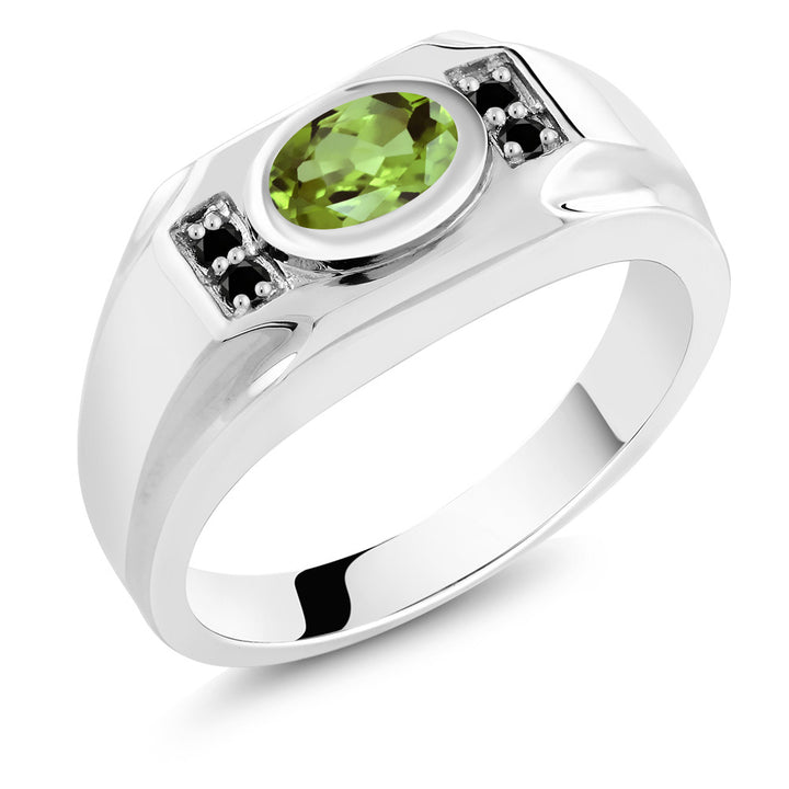 Gem Stone King 1.46 Ct Oval Green Peridot Black Diamond 925 Sterling Silver Men's Ring