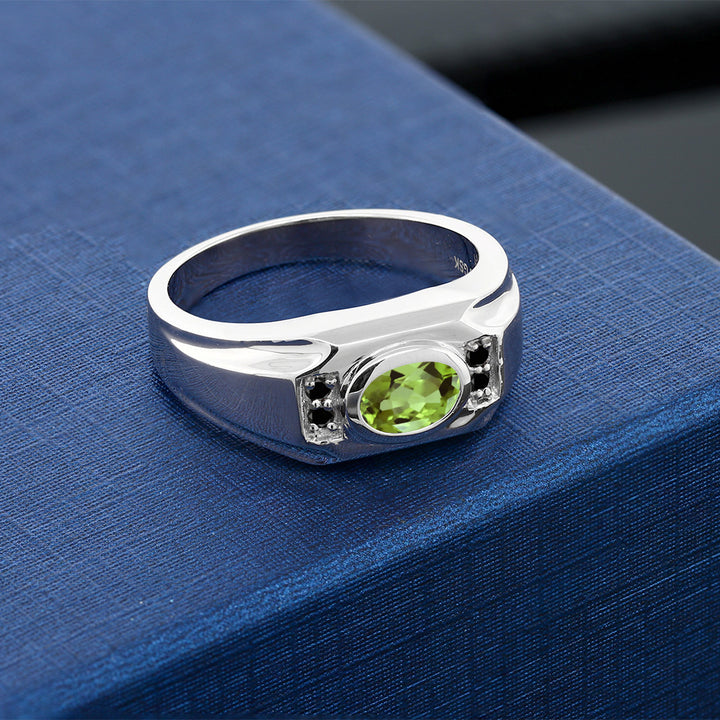 1.46 Ct Oval Green Peridot Black Diamond 925 Sterling Silver Men's Ring