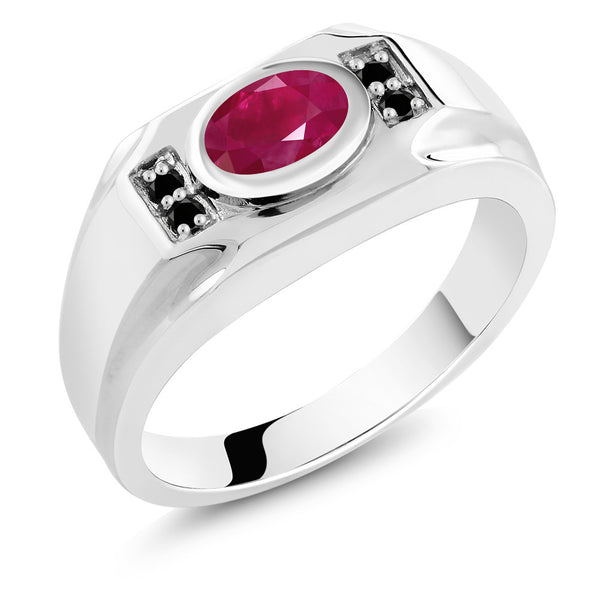 2.02 Ct Oval Red Ruby Black Diamond 925 Sterling Silver Men's Ring