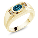 Gem Stone King 1.43 Ct London Blue Topaz White Diamond 18K Yellow Gold Plated Silver Men's Ring