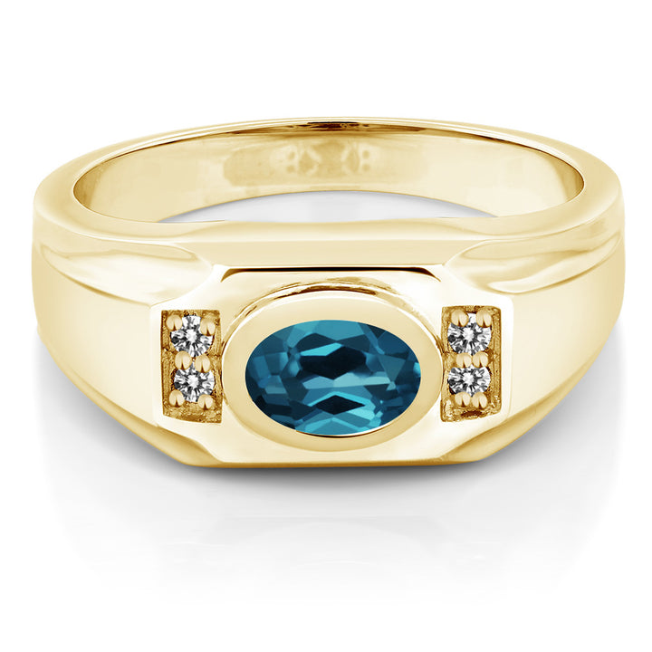 1.43 Ct London Blue Topaz White Diamond 18K Yellow Gold Plated Silver Men's Ring