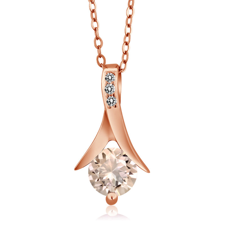 Gem Stone King 0.65 Ct Round Peach Morganite White Diamond 18K Rose Gold Plated Silver Pendant