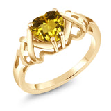 Gem Stone King 1.05 Ct Heart Shape Yellow Citrine 18K Yellow Gold Plated Silver Ring