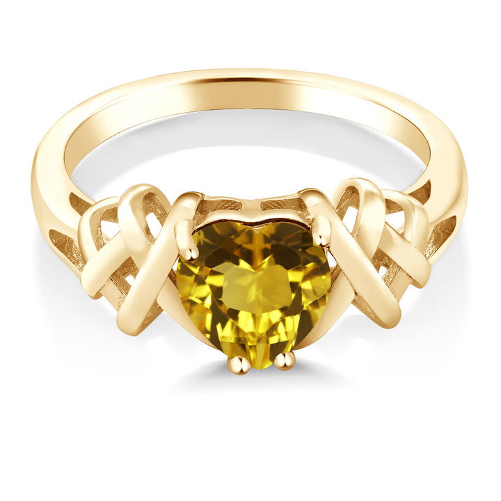1.05 Ct Heart Shape Yellow Citrine 18K Yellow Gold Plated Silver Ring