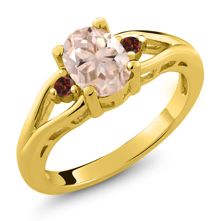 Gem Stone King 1.08 Ct Oval Peach Morganite Red Garnet 18K Yellow Gold Plated Silver 3 Stone Ring