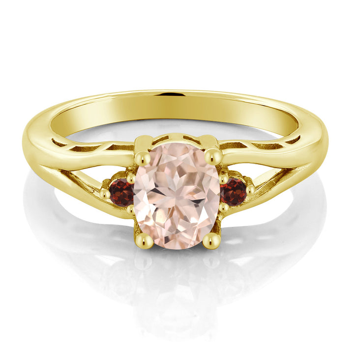1.08 Ct Oval Peach Morganite Red Garnet 18K Yellow Gold Plated Silver Ring