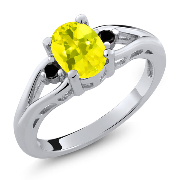 Gem Stone King 1.37 Ct Oval Canary Mystic Topaz Black Diamond 925 Sterling Silver 3 Stone Ring