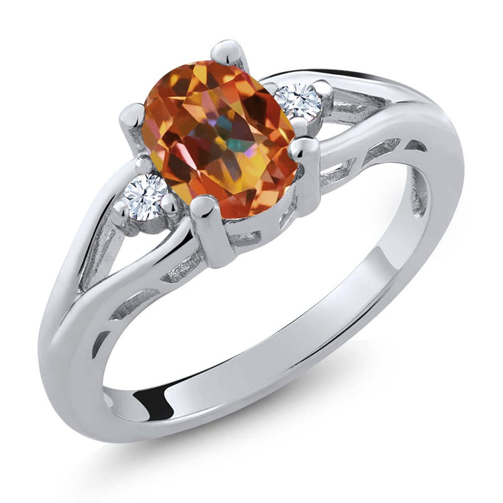 Gem Stone King 1.38 Ct Oval Ecstasy Mystic Topaz White Created Sapphire 925 Sterling Silver Ring
