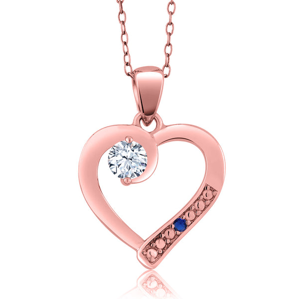 0341ad169 0.01 Ct Round White Zirconia 18K Rose Gold Plated Silver Pendant