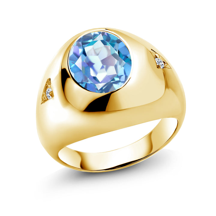 Gem Stone King 4.08 Ct Millennium Blue Mystic Quartz White Topaz 18K Yellow Gold Plated Silver Men's Ring