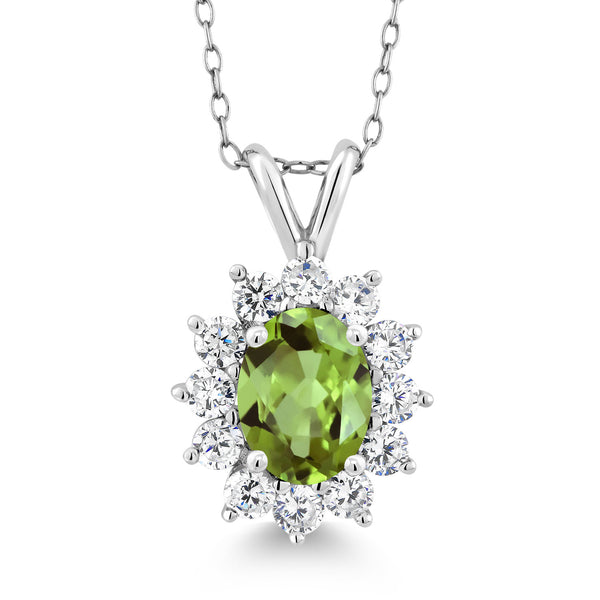 1.93 Ct Oval Green Peridot 925 Sterling Silver Pendant Necklace 18""