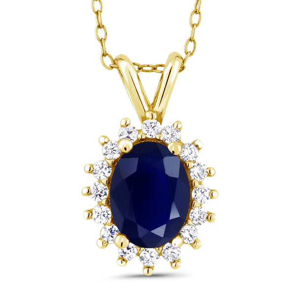 2.03 Ct Oval Blue Sapphire 14K Yellow Gold Pendant Necklace With 18 inch Chain