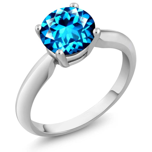 925 Sterling Silver Ring Set with Round Kashmir Blue Topaz from Swarovski
