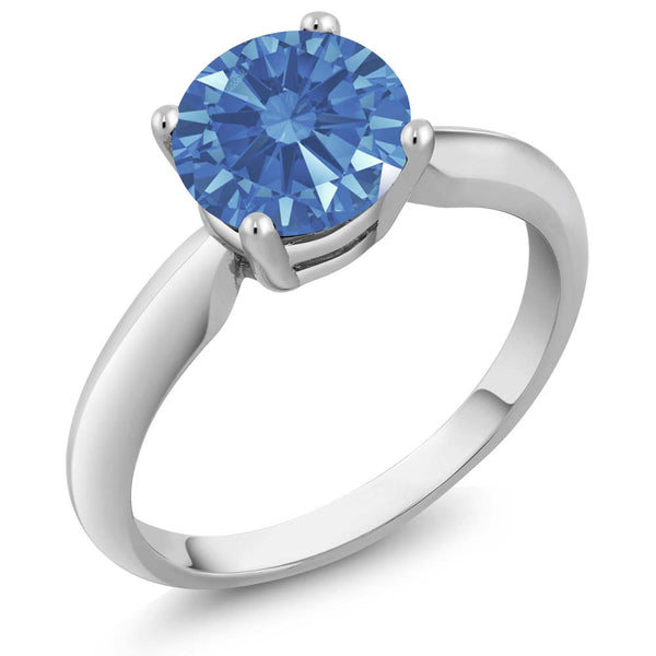1.28 Ct Fancy Blue 925 Sterling Silver Ring Made With Swarovski Zirconia