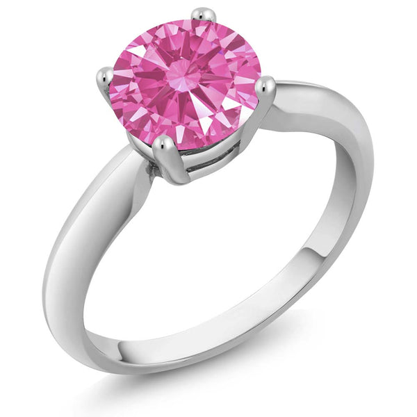 1.28 Ct Pink 925 Sterling Silver Ring Made With Swarovski Zirconia