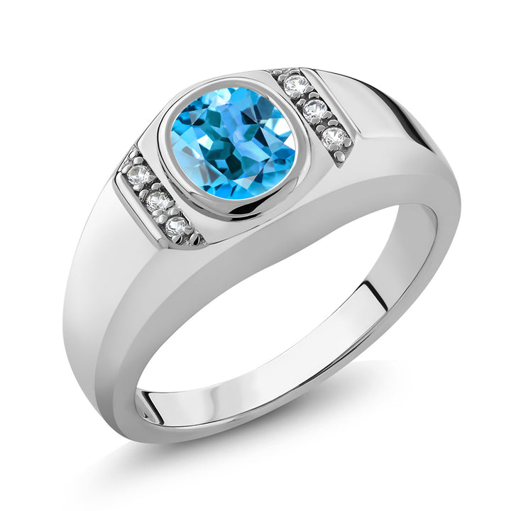 Gem Stone King 1.36 Ct Swiss Blue Topaz White Created Sapphire 925 Sterling Silver Men's Ring