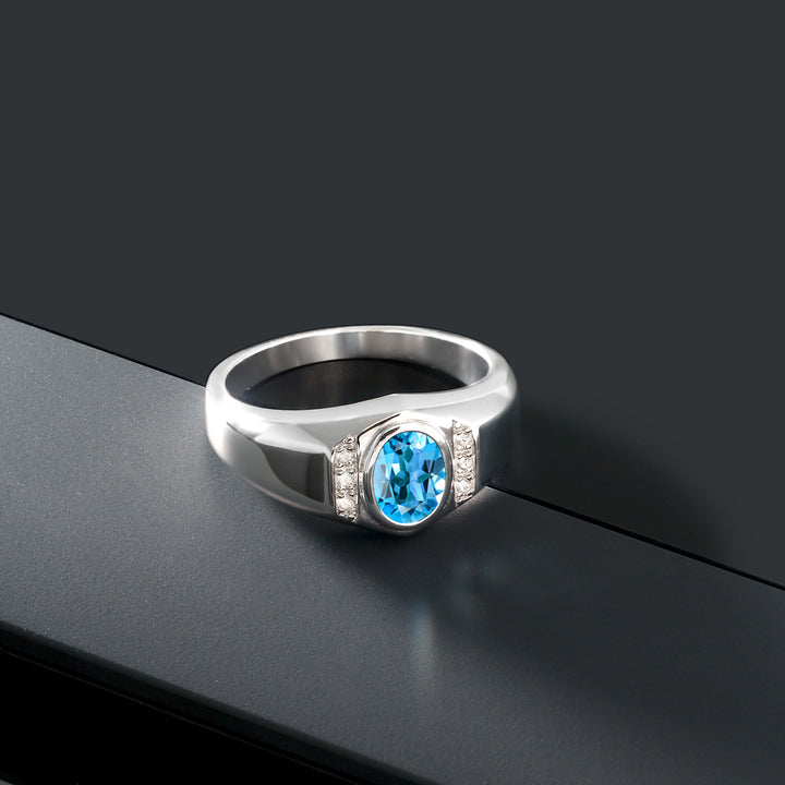 1.36 Ct Swiss Blue Topaz White Created Sapphire 925 Sterling Silver Men's Ring