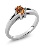 Gem Stone King 0.53 Ct Oval Ecstasy Mystic Topaz White Diamond 925 Sterling Silver Ring (Available 5,6,7,8,9)