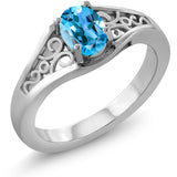 Gem Stone King 0.80 Ct Oval Swiss Blue Topaz 925 Sterling Silver Ring