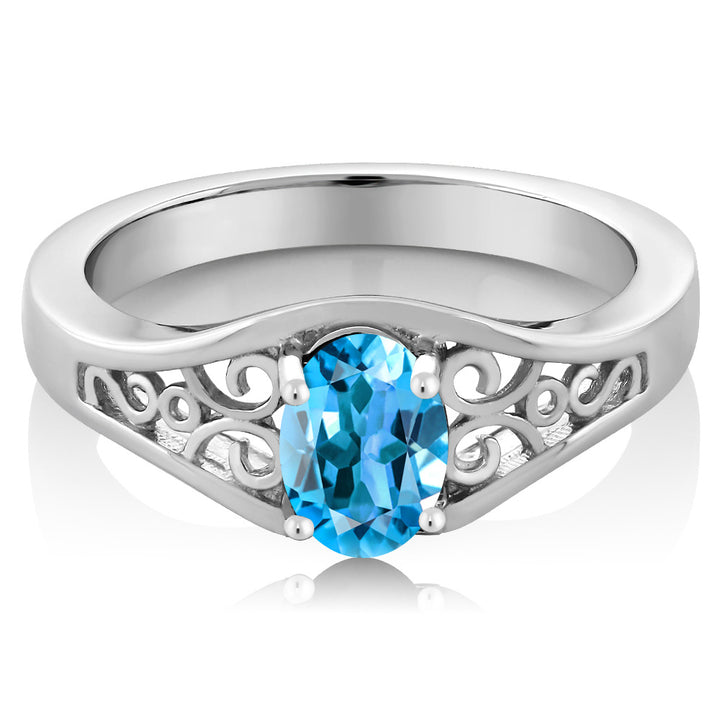 0.80 Ct Oval Swiss Blue Topaz 925 Sterling Silver Ring