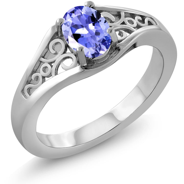 Gem Stone King 0.75 Ct Oval Blue Tanzanite AAAA 925 Sterling Silver Ring