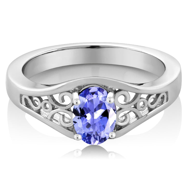 0.75 Ct Oval Blue Tanzanite AAAA 925 Sterling Silver Ring