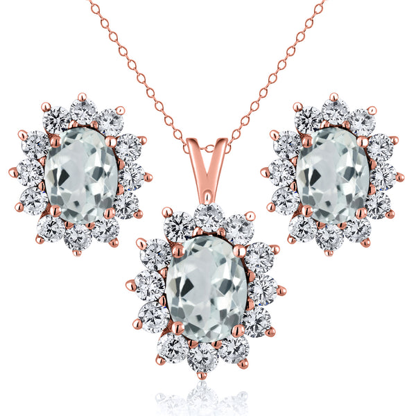 3.14 Ct Sky Blue Aquamarine 18K Rose Gold Plated Silver Pendant Earrings Set