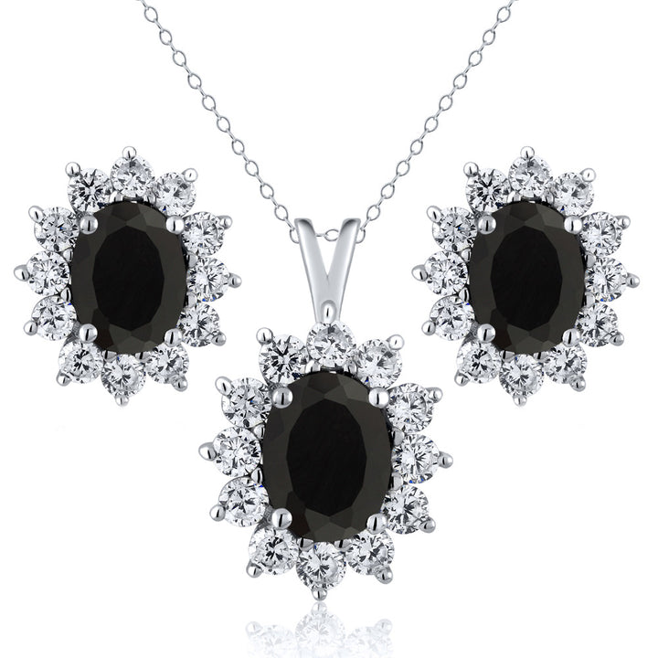 Gem Stone King 2.63 Ct Oval Black Onyx 925 Sterling Silver Pendant Earrings Set