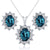 3.70 Ct Oval London Blue Topaz 925 Sterling Silver Pendant Earrings Set