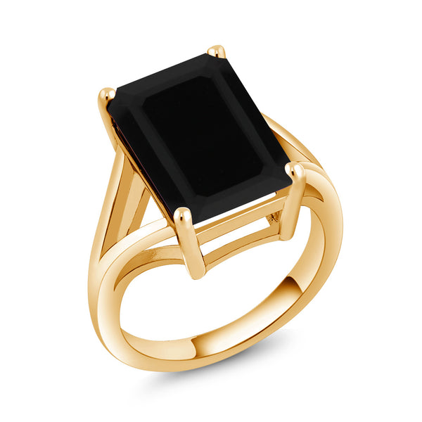 5.00 Ct Octagon Black Onyx 18K Yellow Gold Plated Silver Solitaire Ring