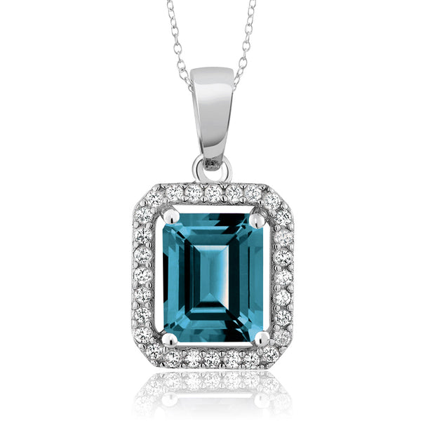 2.66 Ct Emerald Cut London Blue Topaz 925 Sterling Silver Pendant Necklace