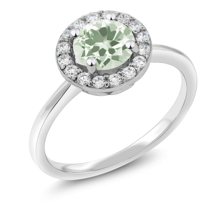 Gem Stone King 925 Sterling Silver 1.30 Ct Round Green Prasiolite Women's Halo Engagement Ring