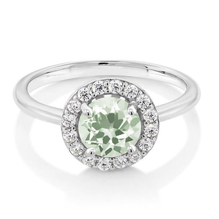925 Sterling Silver 1.30 Ct Round Green Prasiolite Women's Halo Engagement Ring