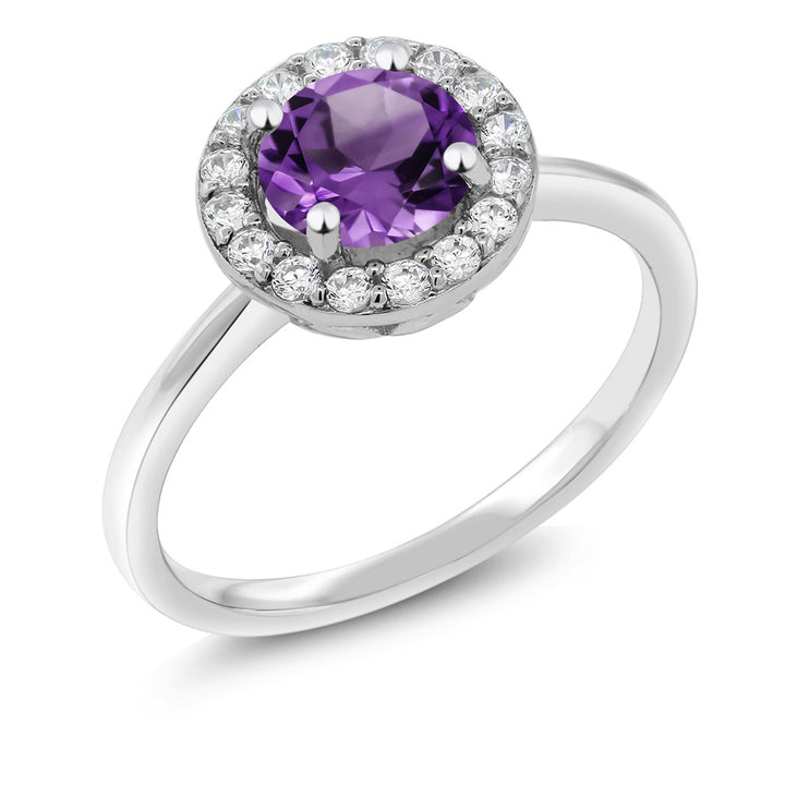 Gem Stone King 925 Sterling Silver 1.30 Ct Round Purple Amethyst Women's Halo Engagement Ring