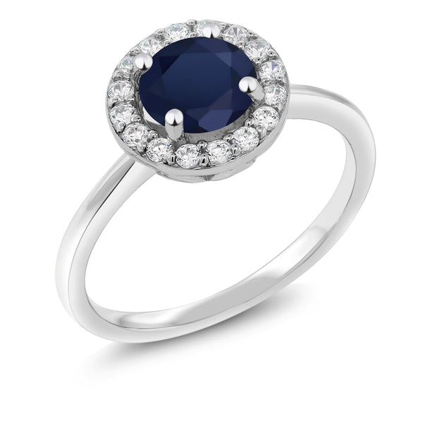 925 Sterling Silver 1.70 Ct Round Royal Blue Zirconia Halo Engagement Ring