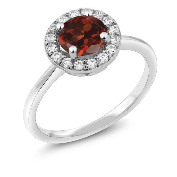 925 Sterling Silver 1.50 Ct Round Red Garnet Halo Women's Engagement Ring